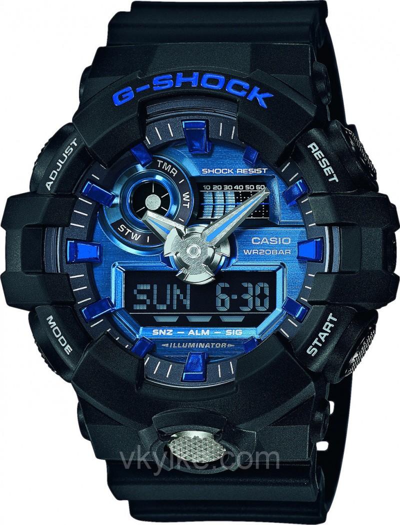 Часы Casio GA-710 Black-blue AAA
