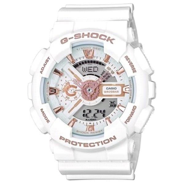 Casio G-Shock GA-110 белые с золотом