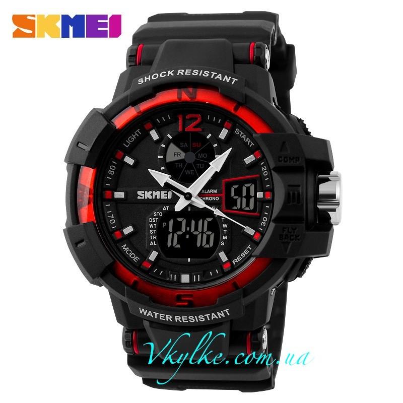 Skmei Shock Resistant(1040) черные с красным