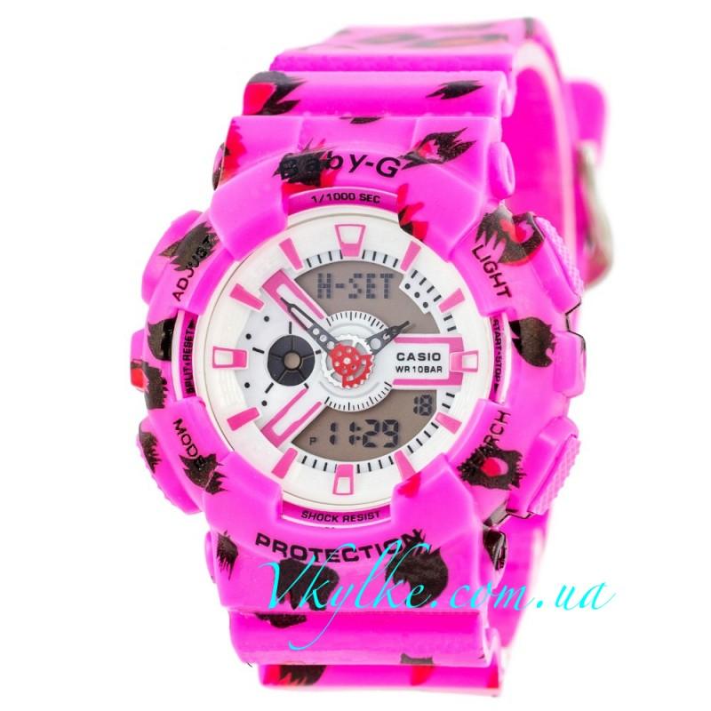 Женские часы Casio Baby G BA-110 Pink-Flower Leopard
