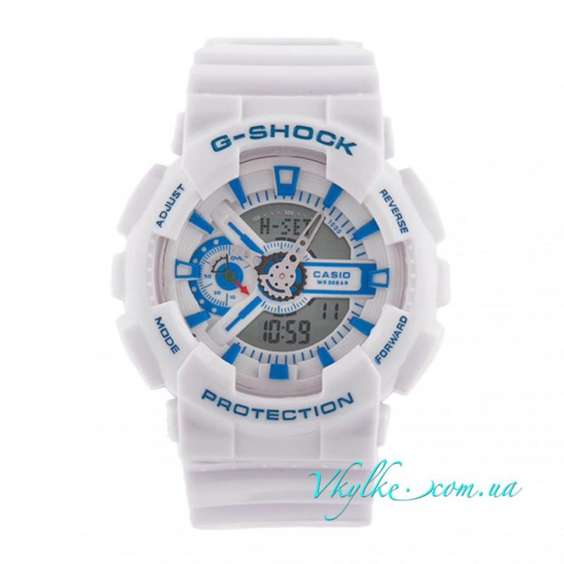Копия CASIO G-SHOCK GA-110 белые с голубым
