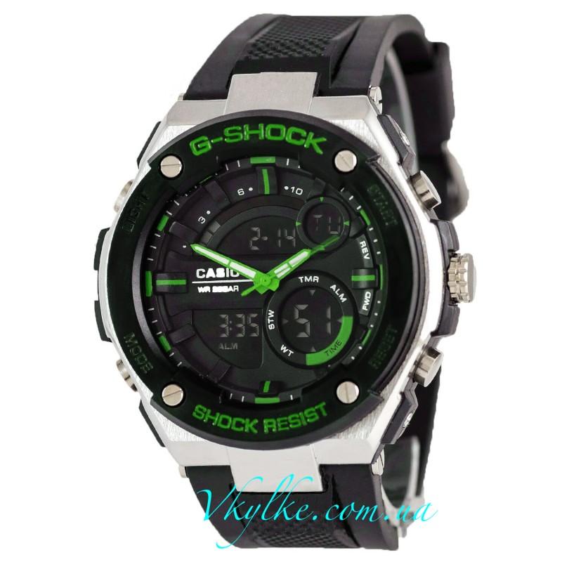 CASIO G-SHOCK GST-210 черные с зеленым