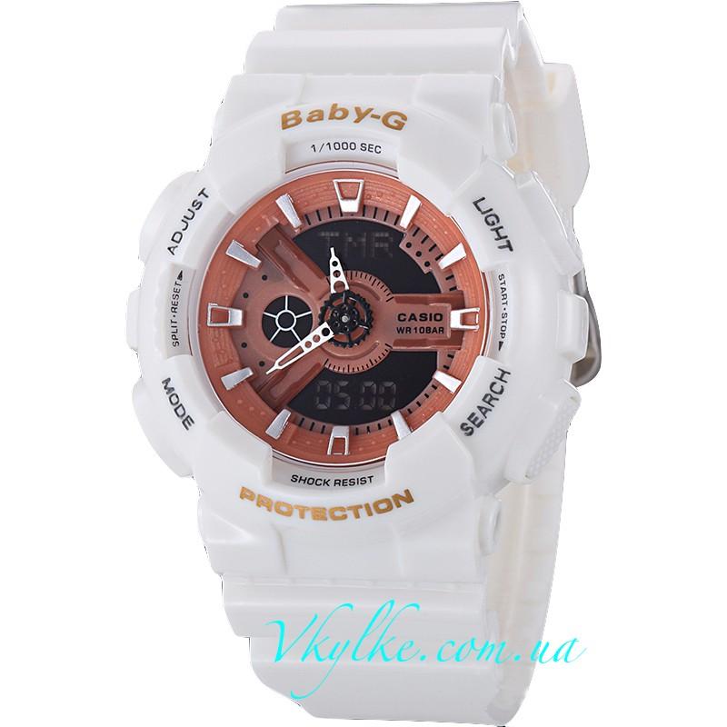 Часы Casio Baby-G BA-110 белые с розовым