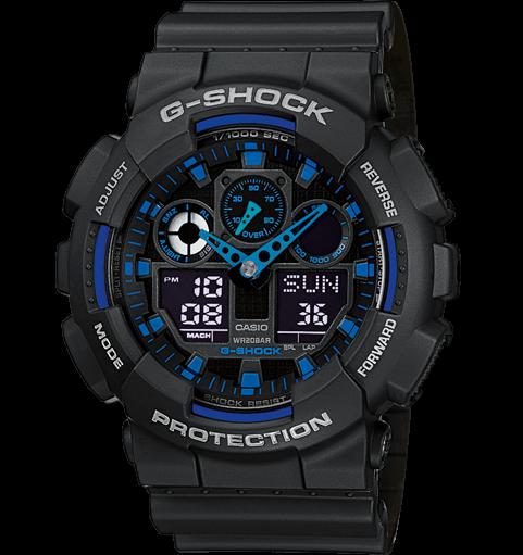 CASIO G-SHOCK GA-100-1A2ER черные с синим