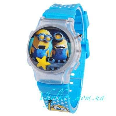 Часы Миньоны с крышкой голубые
