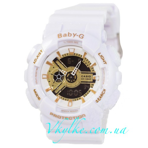 Женские часы CASIO BABY-G BA-110 white and gold