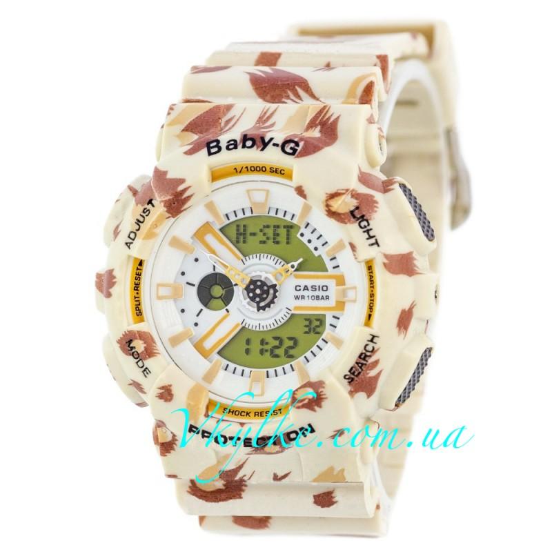 Женские часы Casio Baby G BA-110 Cofee-Flower Leopard