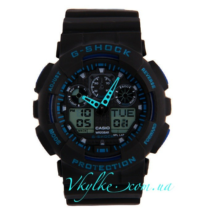 Копия Casio G-Shock GA-100 черные с синим