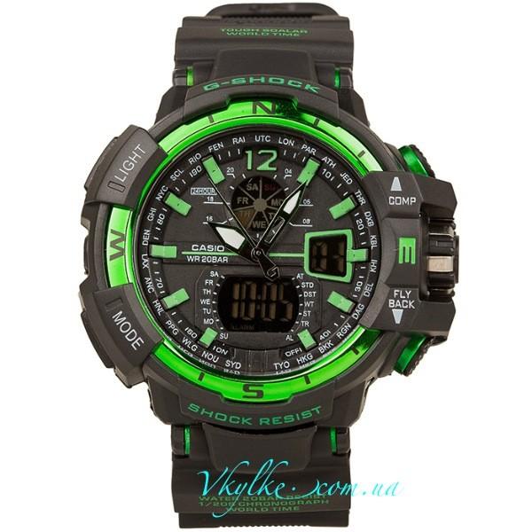 Копия Casio G-Shock GW-A1100 черные с зеленым