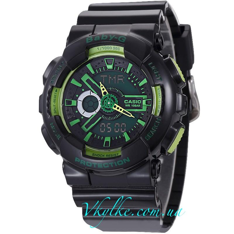 Часы Casio Baby-G BA-110 черные с зеленым