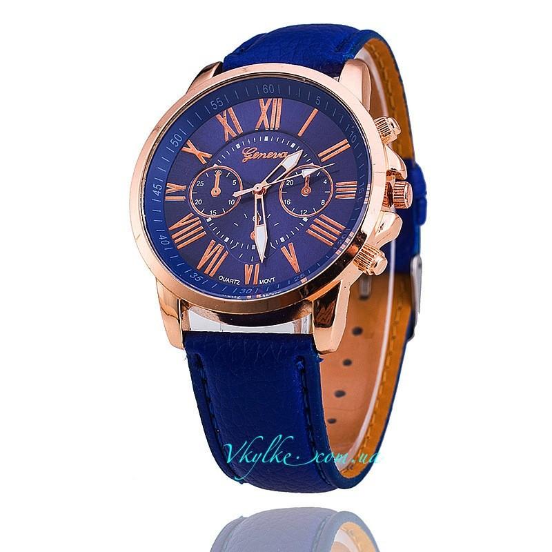 Часы Geneva c кожаным ремешком синие