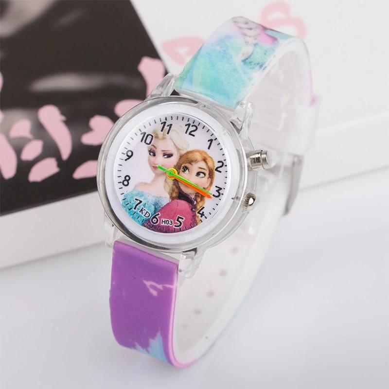 Часы с подсветкой Холодное сердце фиолетовые