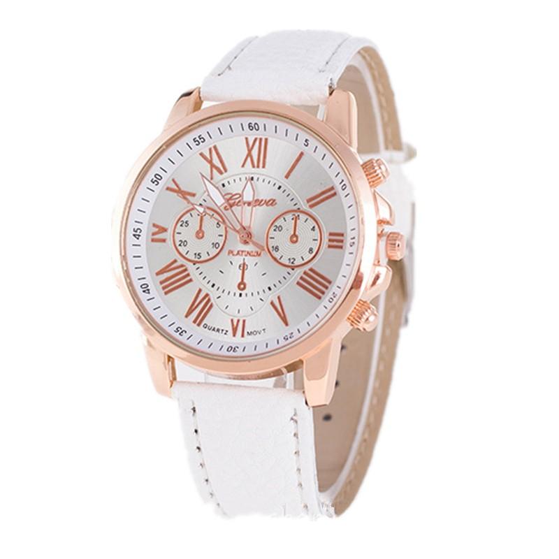 Часы Geneva c кожаным ремешком белые