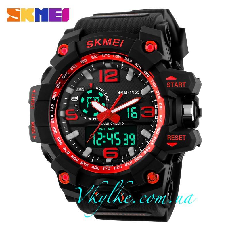 Спортивные часы Skmei 1155 черные с красным
