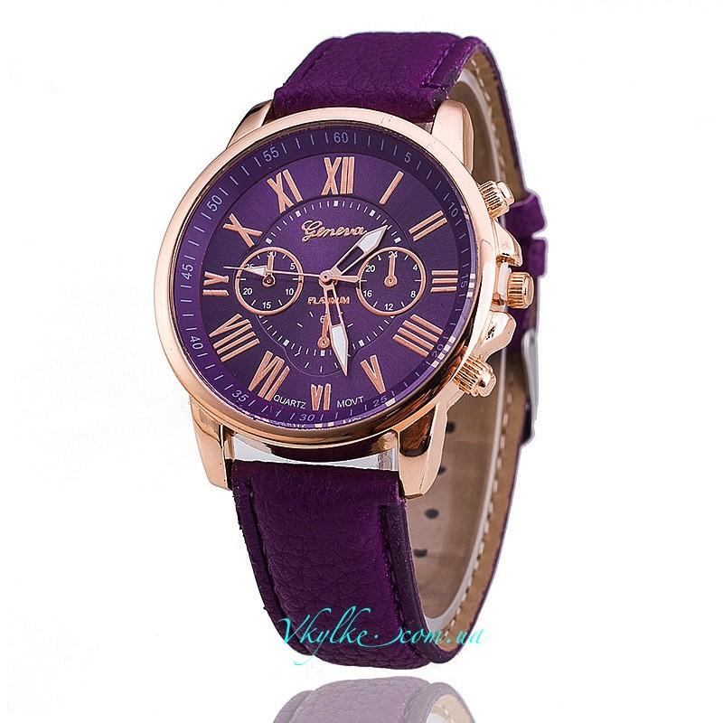 Часы Geneva c кожаным ремешком фиолетовые