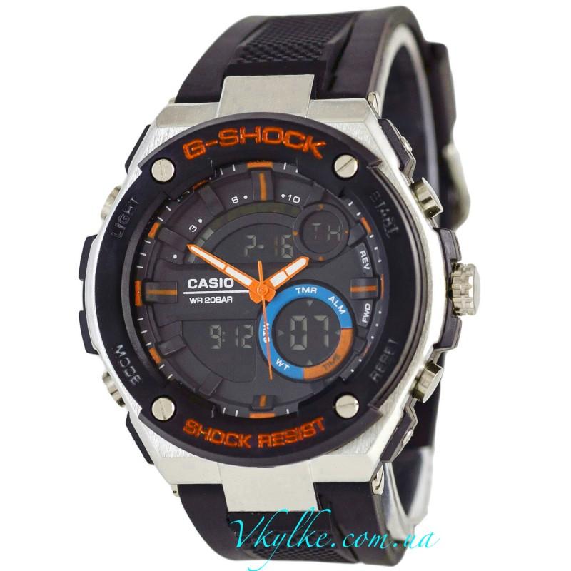 CASIO G-SHOCK GST-210 черные с оранжевым