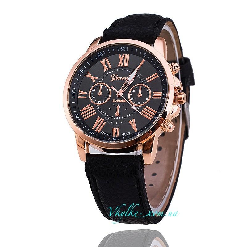 Часы Geneva c кожаным ремешком черные