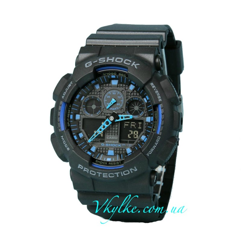 ЧАСЫ CASIO G-SHOCK GA-100 BLACK-BLUE AAA