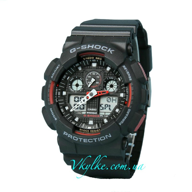 ЧАСЫ CASIO G-SHOCK GA-100 BLACK-RED AAA