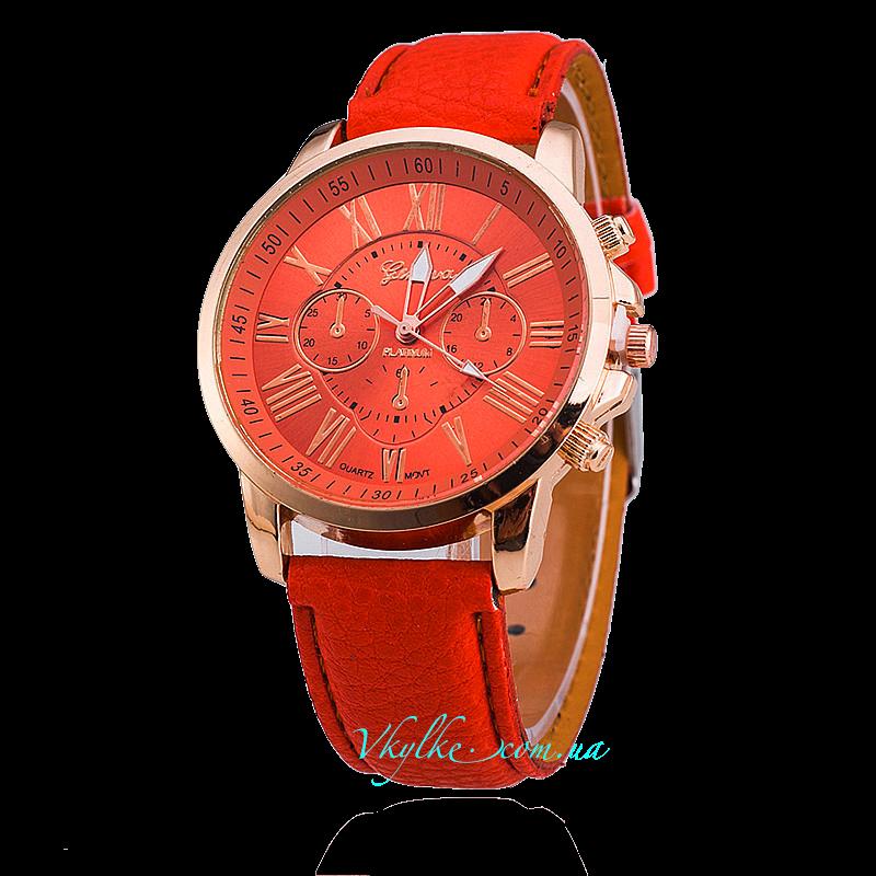 Часы Geneva c кожаным ремешком оранжевые