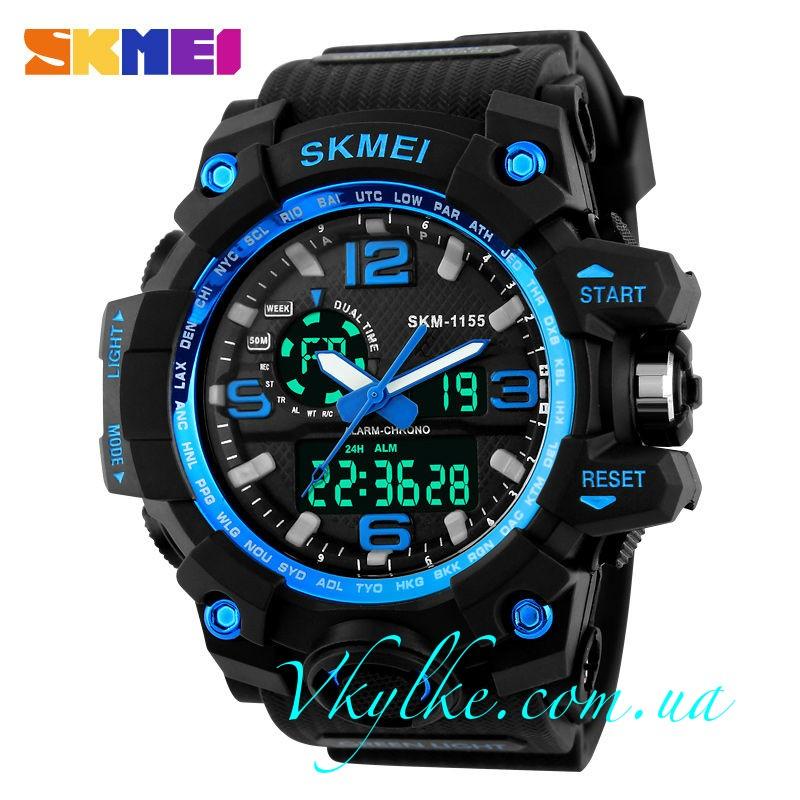 Спортивные часы Skmei 1155 черные с синим