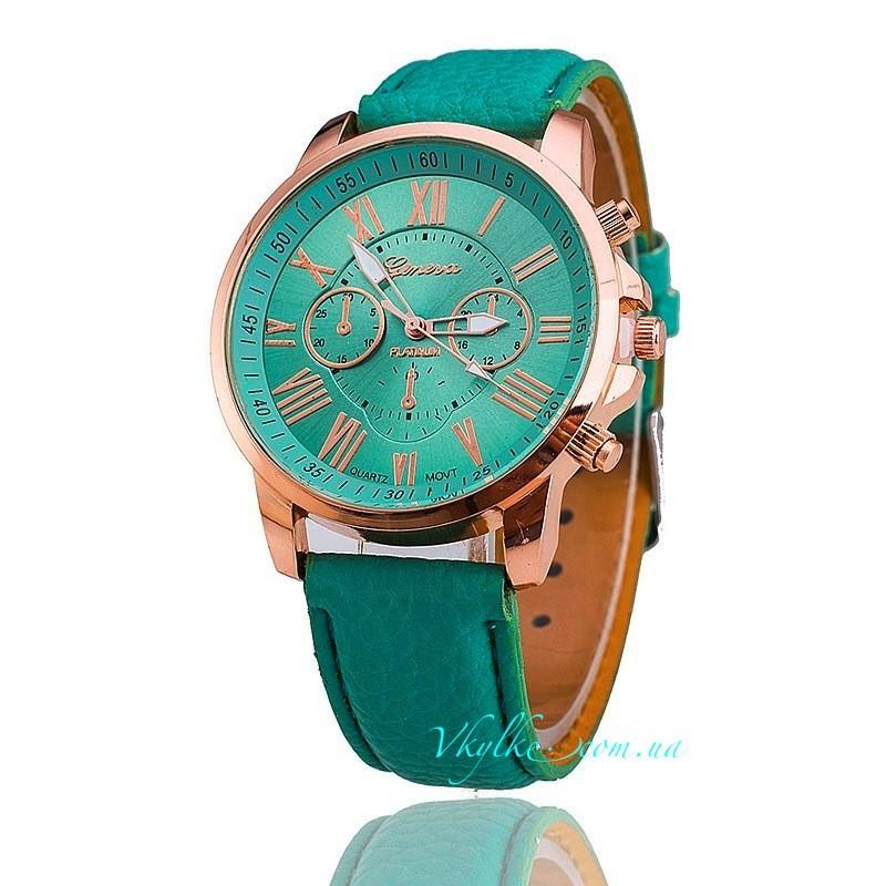 Часы Geneva c кожаным ремешком мятные